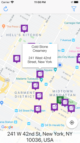App screenshot with location-specific info after pressing a marker