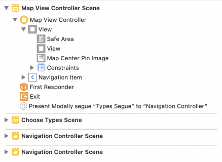 Document outline after adding the map UIView