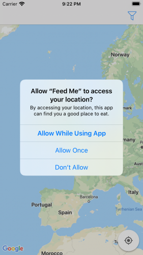 App screenshot of the system requesting location permissions