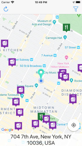App screenshot with location pins on the map