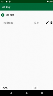 List screen with only bread listed.