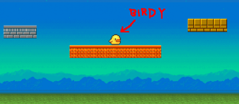 Screenshot of demo project showing the main character, Birdy