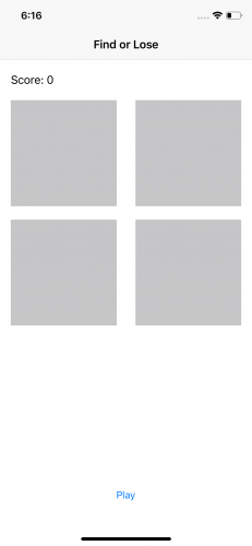 First screen of FindOrLose with four gray squares