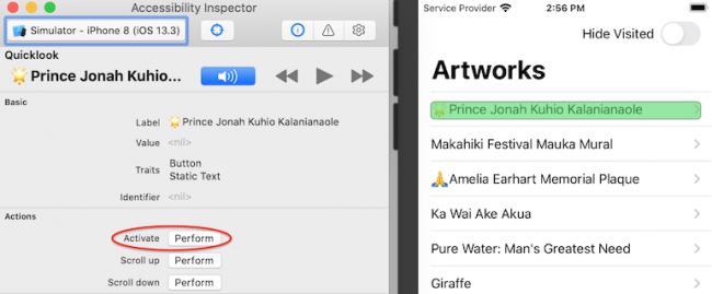 Activate perform the list item button