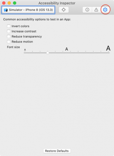 Accessibility Inspector Settings tab.