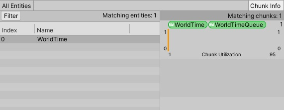 Entity Debugger window with WorldTime selected