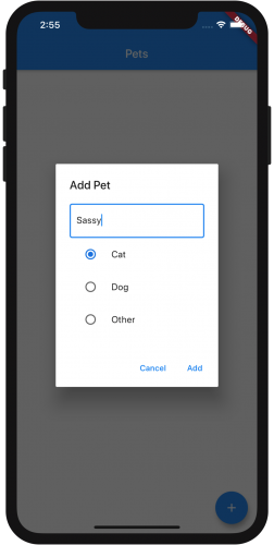 Dialog box to add a pet, Saddy the cat.
