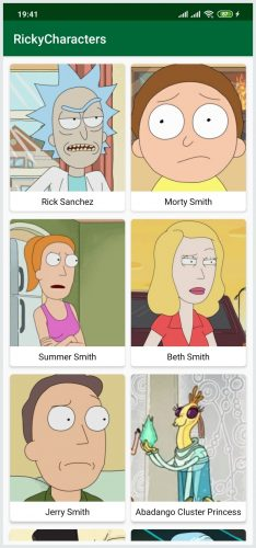 App displaying Rick and Morty characters