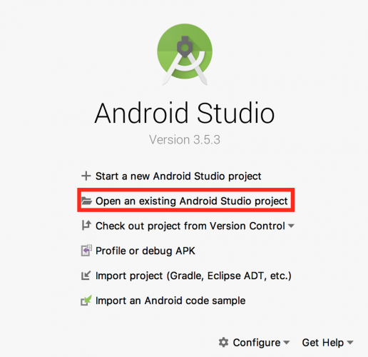 Android Sutdio Welcome Screen with Open an existing Android Studio project boxed in red