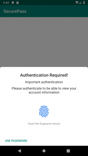 Box stating Authentication Required with a fingerprint icon