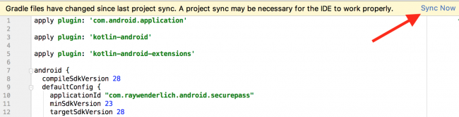 Gradle Sync screen with an arrow pointing to Sync Now