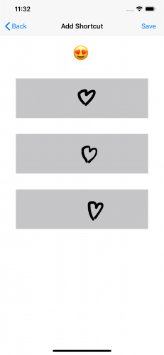 Add a shortcut screen with heart eyes emoji, there gray rectangles with hearts drawn in them