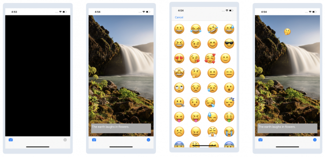 Vibes starter app flow: Blank screen, waterfall image with quote, selection of emojis, waterfall with quote and emoji