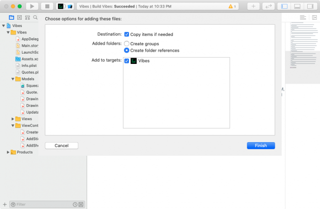 Add updatable model in Xcode