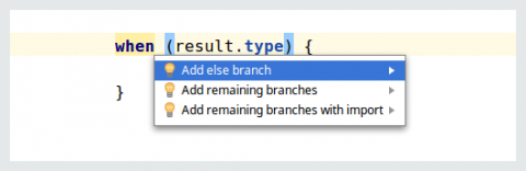IDE offers a fix for the When statement error
