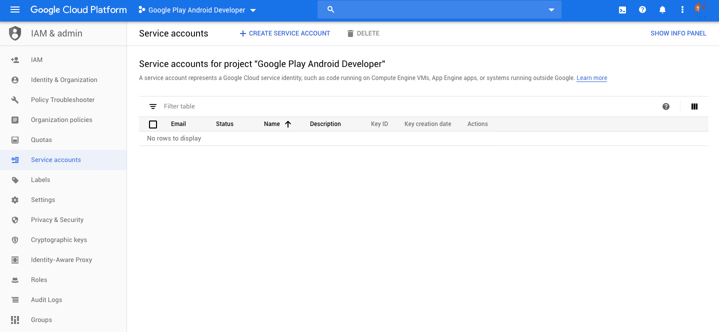 Window showing your Google Play Android Developer service accounts
