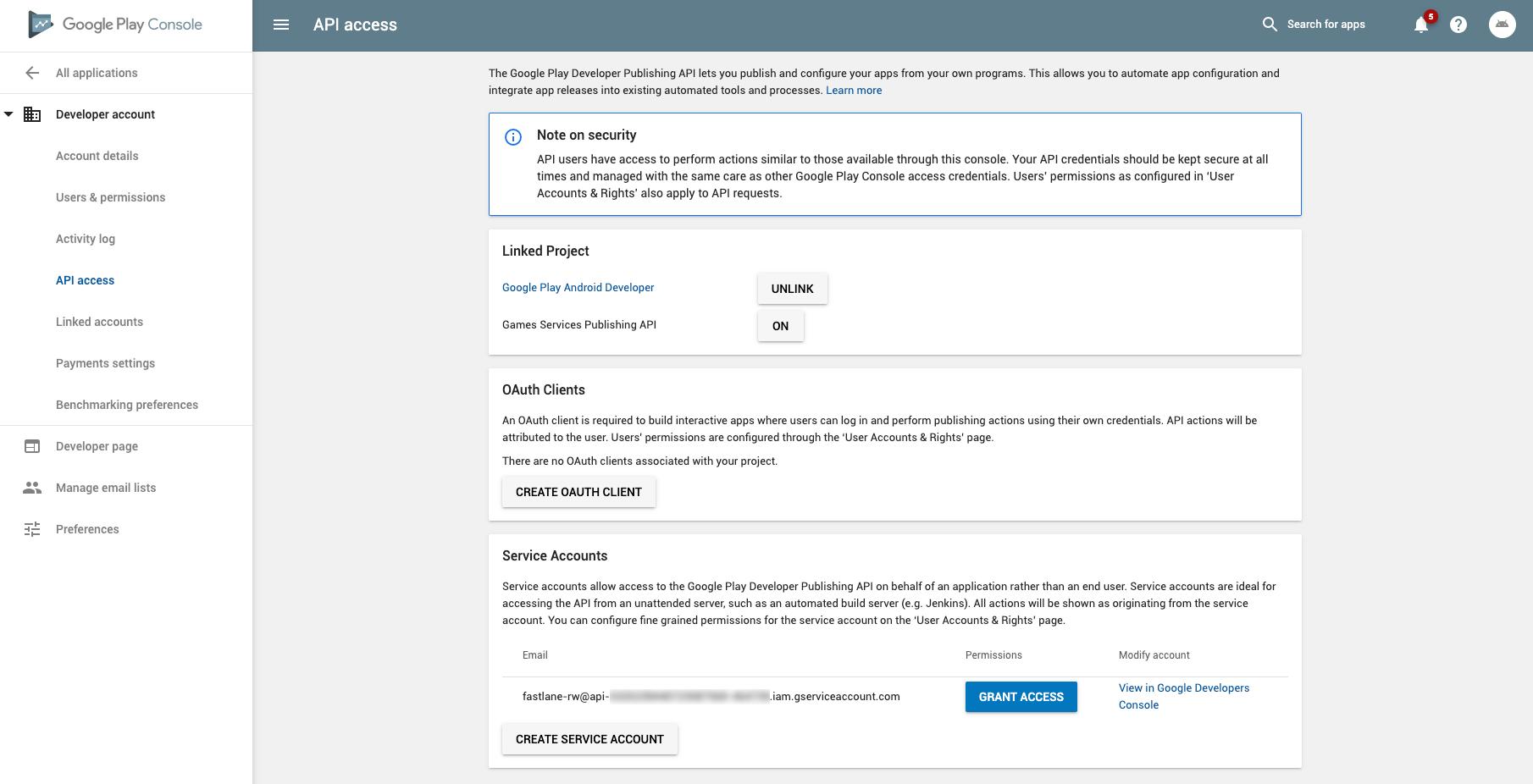 Page d'accès à l'API