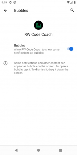 The app-level settings for bubbles.