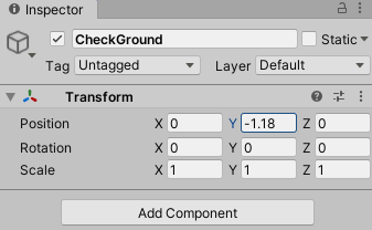 Setting the Transform of Ground Check gameObject