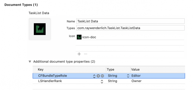 Document Types filled values to import app data