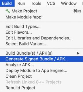 Generate signed APK contextual menu