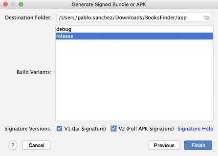 Generating signed APK