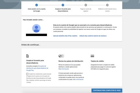 Google play developer welcome screen