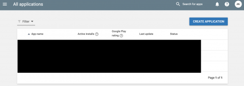 Google play console create application