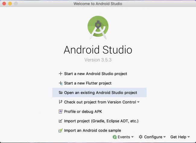 Android Studio start new project wizard