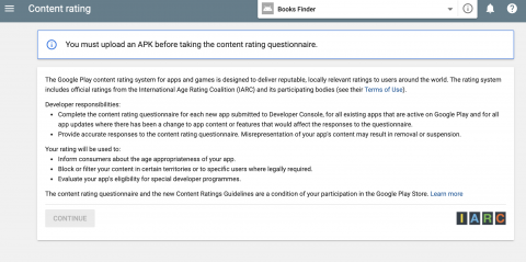 Google play console store listing upload apk warning