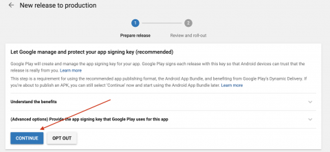 Google play console opt in google signing
