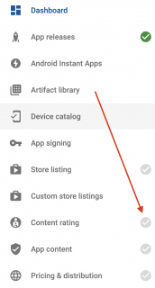 Google play developer console content rating menu option