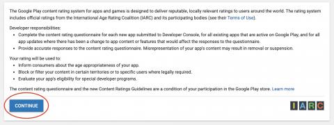 Google play developer console continue content questionnaire