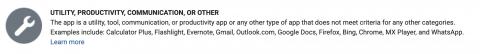 Google play developer console app category