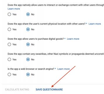 Google play developer console save questionnaire button