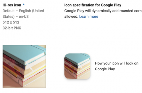 Google play developer console app icon preview