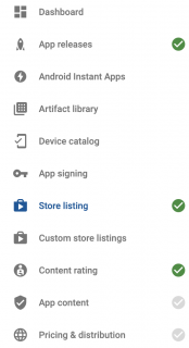 Google play developer console left menu two remaining options