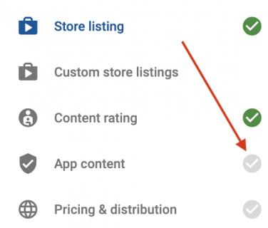 Google play developer console app content option