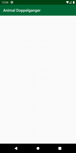 Android emulator showing empty app screen