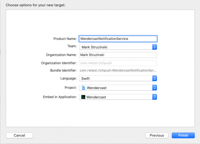 Configuring a notification content extension