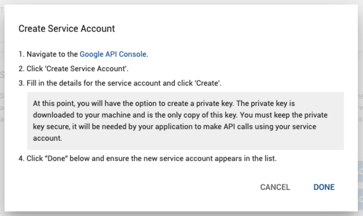 Create Service Account pop-up window