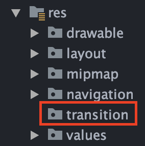 Res package with transition directory boxed in red
