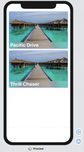 Fenêtre d'aperçu de la vue de la liste de voyages