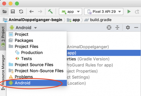 Android project mode selection opened in Android Studio
