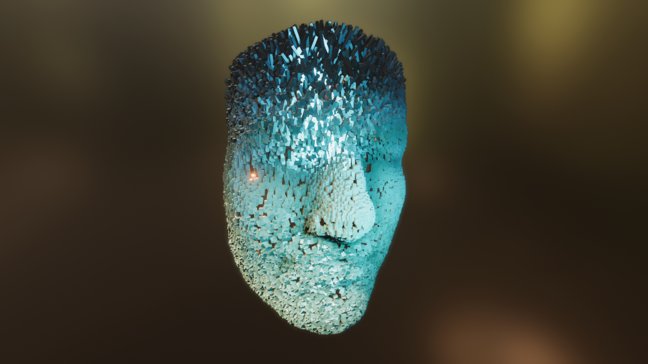 Particles taking the shape of a 3D face