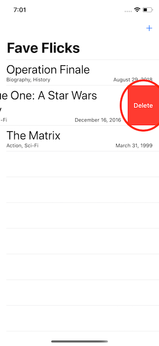 Attempt to delete a movie in the app