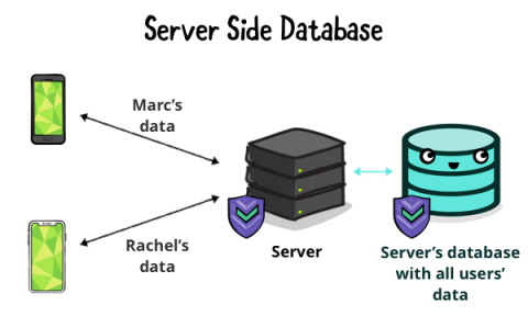 Server storing user data in a database only it can access