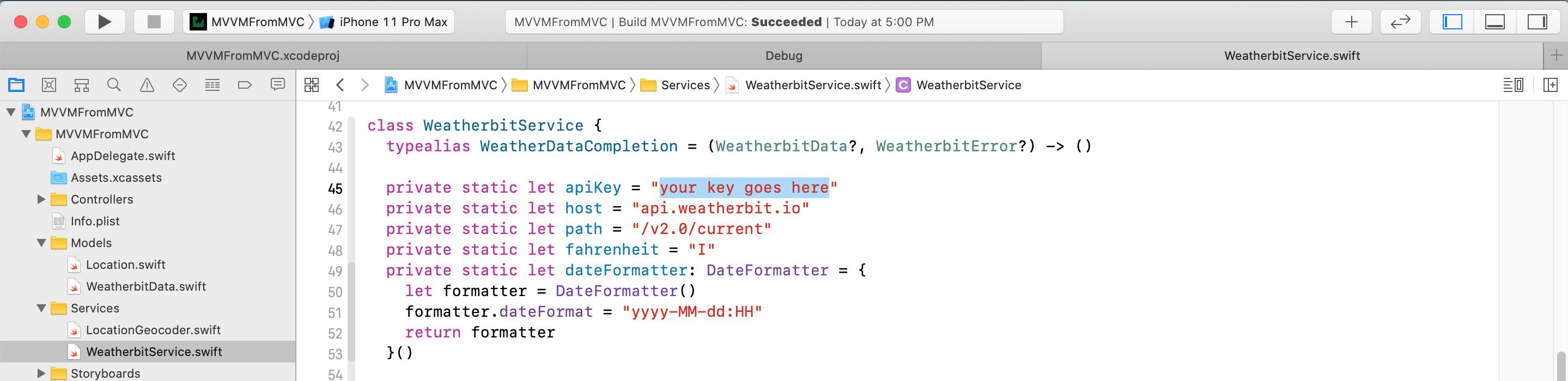 Image showing where to add Weatherbit API Key
