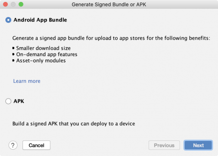 Android Studio create android app bundle option
