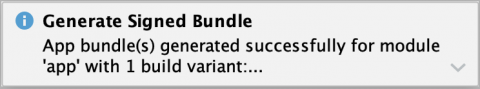 Android Studio app bundle generated notification